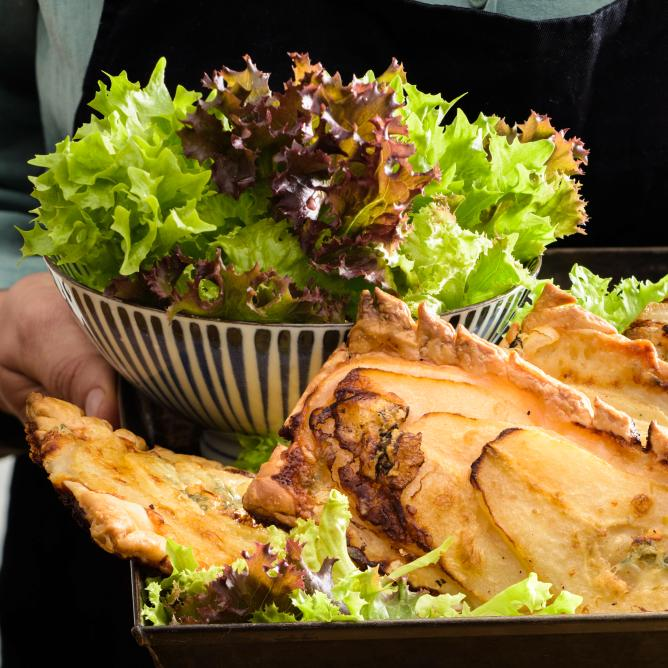 Pear and Gorgonzola pastry slices