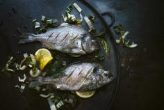 Sea bream on a bed of saffron chard