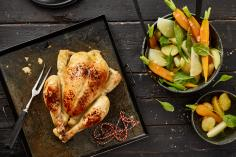 Beer roasted chicken with vegetable salad