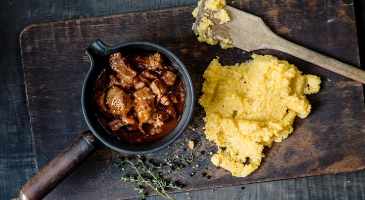 Braised beef with polenta