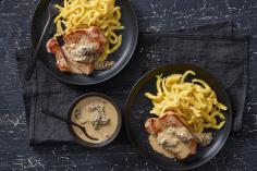 Pork loin steaks with morel sauce
