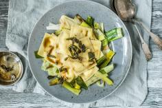 Agnolotti pasta with soft goats' cheese and orange sauce