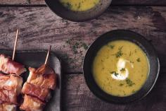 Cucumber soup with fish skewers