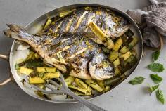 Sea bream with courgette & mint salad