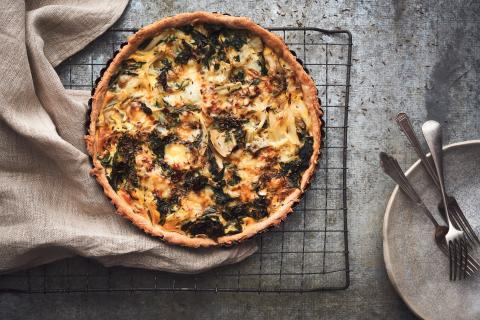 Onion and Swiss chard quiche