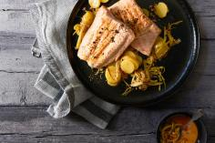 Salmon with potato salad and leek vinaigrette