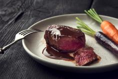 Angus tenderloin steak with coffee-chocolate sauce