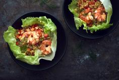 Colourful Ebly wheat salad with jumbo prawns