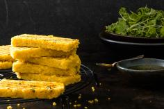 Grilled lentil & polenta slices