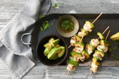 Plaice and avocado satay with lemon balm oil