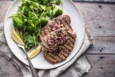 Beef paillard with broccoli and olive vinaigrette