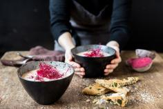 Beetroot soup with spinach and feta focaccia