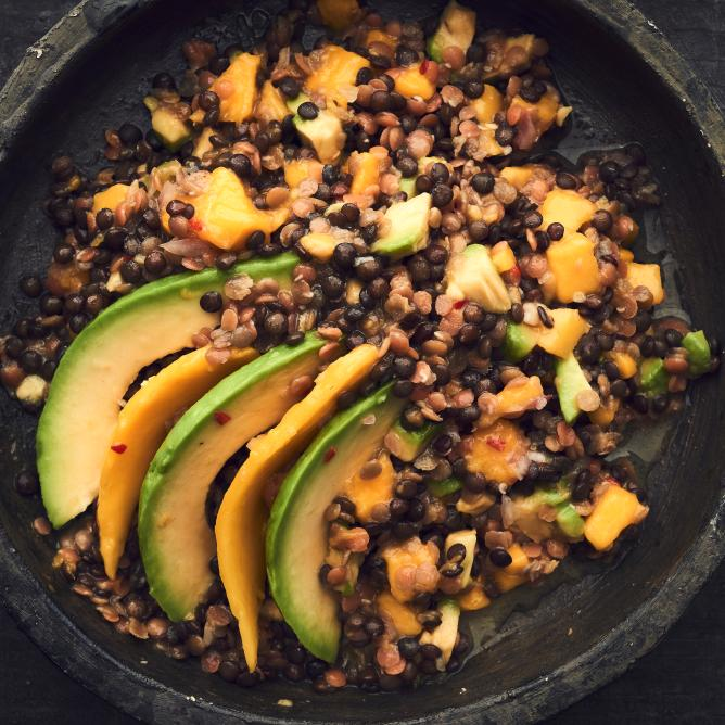 Lentil Salad with Avocado & Mango Slices