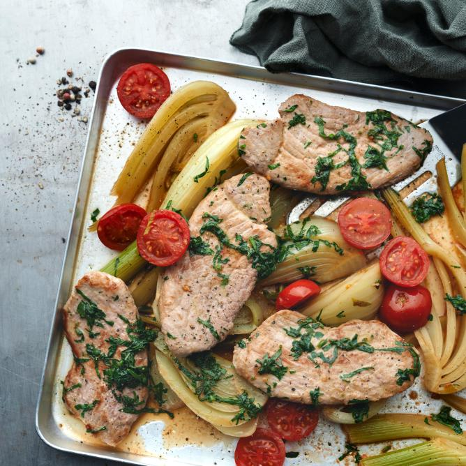 Herb Pork Charbonnade with Fennel