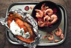 Prawns with baked sweet potatoes