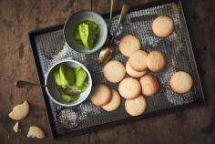 Basil Sorbet with Lemon Biscuits