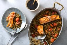 Sweet n' Sour Salmon Fillets on a Bed of Lentils