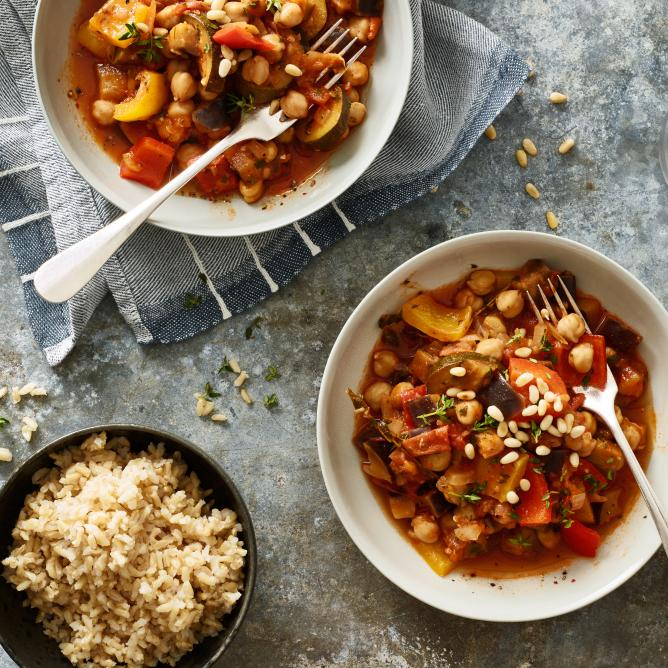 Ratatouille with wholegrain rice