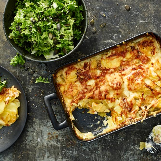 Potato Gratin with Leek & Porcini Mushrooms
