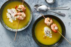 Potato Saffron Soup with Prawns