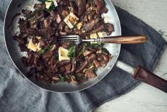 Sauteed Mushrooms with a Splash of Red Wine