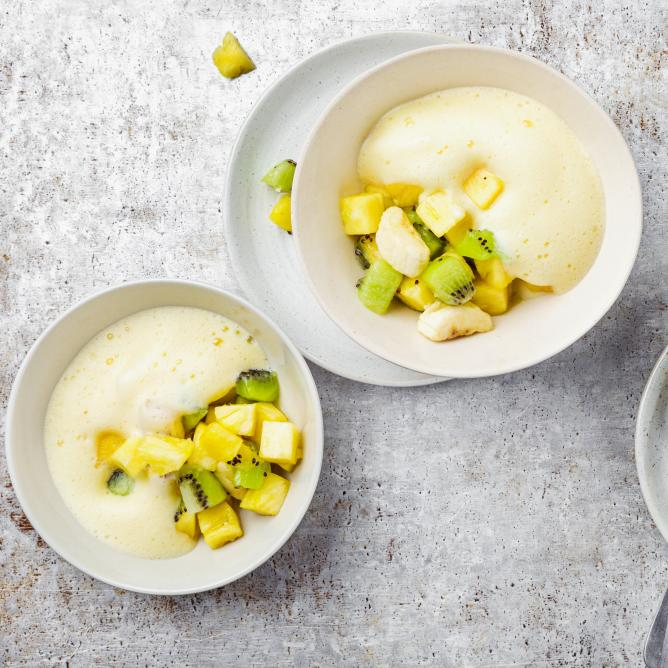 Refreshing Exotic Mix with Bergamot Zabaglione