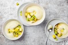 Refreshing exotic fruit salad with bee balm zabaglione