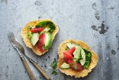 Cheese baskets with avocado and grapefruit salad