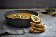 Mango soup with coriander crostini