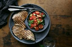 Grilled veal paillard with tomato salad