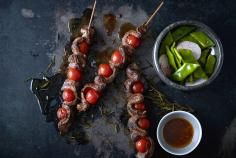 Lamb skewers with runner bean salad