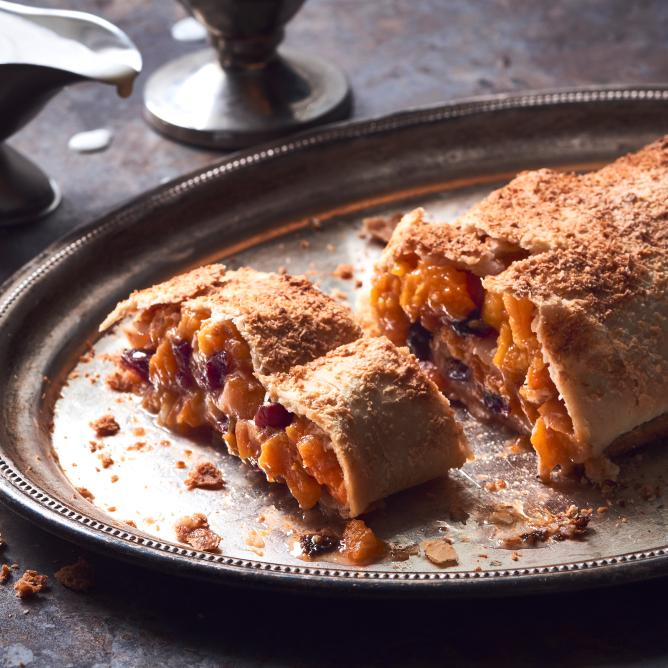 Apricot and coconut strudel with ginger sauce