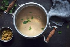Frothy Mushroom Soup with Sweet Chestnut Pesto