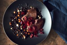 Bison Fillet with Rhubarb Beetroot Compote & Liquorice Lentils