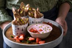 Chocolate cantucci with strawberry cream