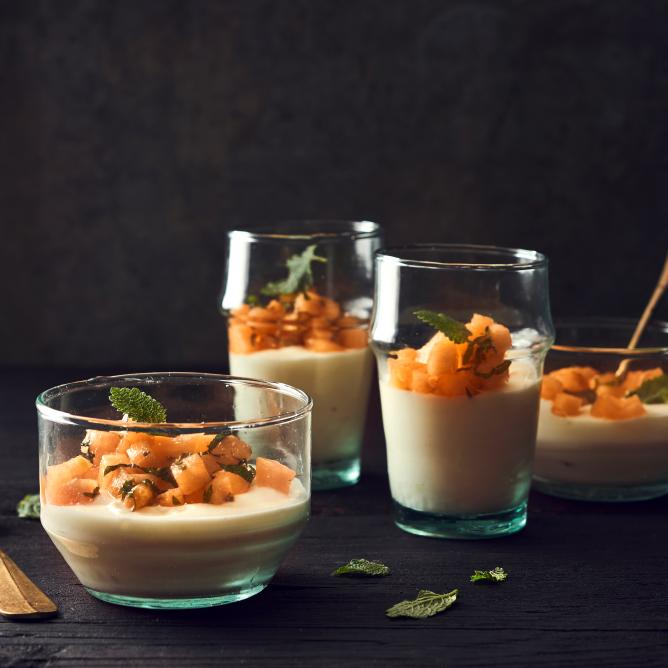 Melon with Yogurt Mousse