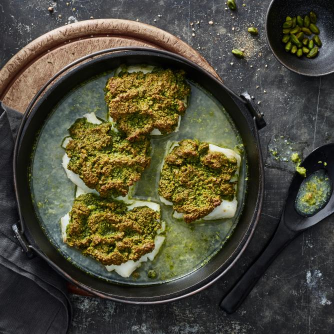 Cod with a pistachio crust