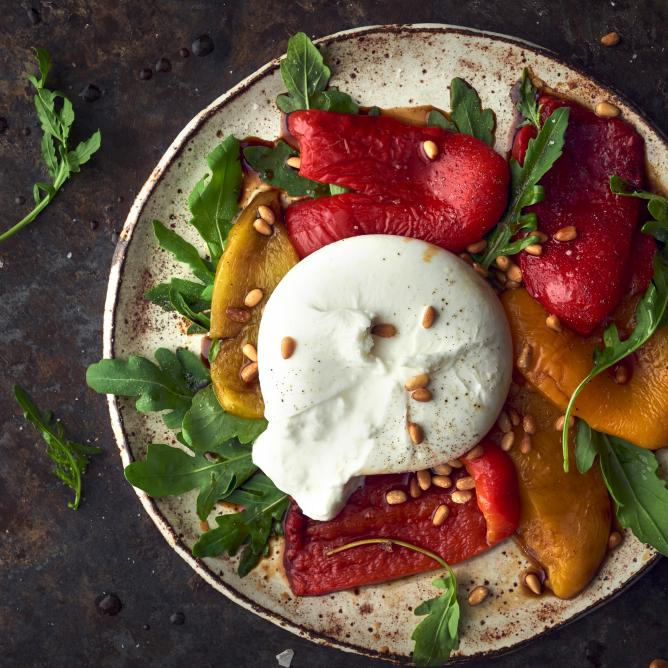 Burrata à la pepperonata