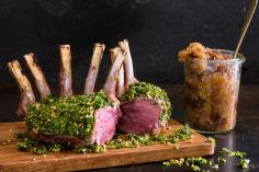Rack of lamb with dukkah Gremolata and date chutney