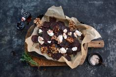 Baked beetroot slices with hazelnut and allspice brittle