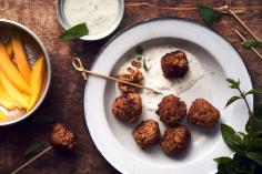 Indian balls with mint raita