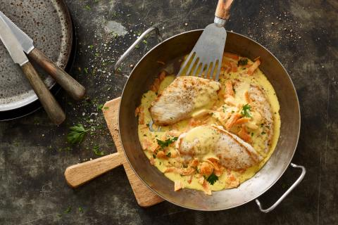 Turkey escalope with carrot sauce