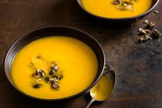 Pumpkin soup with orange and spicy seeds