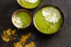 Pea Soup with Cheese Crisps