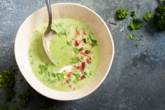 Broccoli soup with cured ham strips