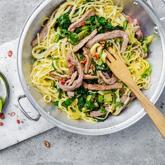 Beef with Coconut Noodles